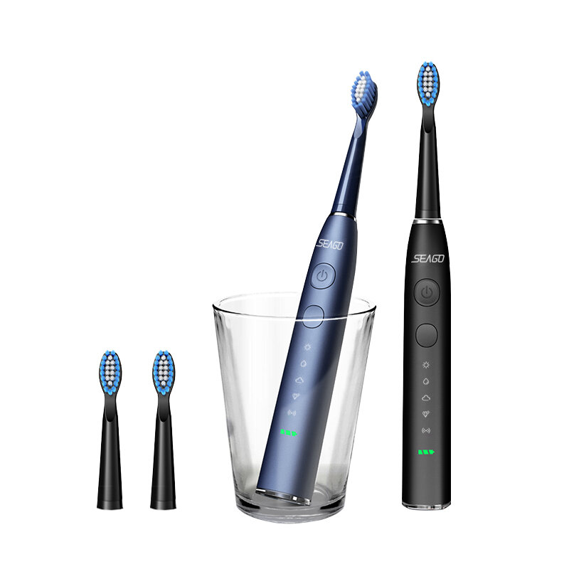 SEAGO SG-575 Sonic Electric Toothbrush 5 Modes IPX7 Waterproof Rechargeable Timing Teeth Cleaner W/ 5pcs Brush Head