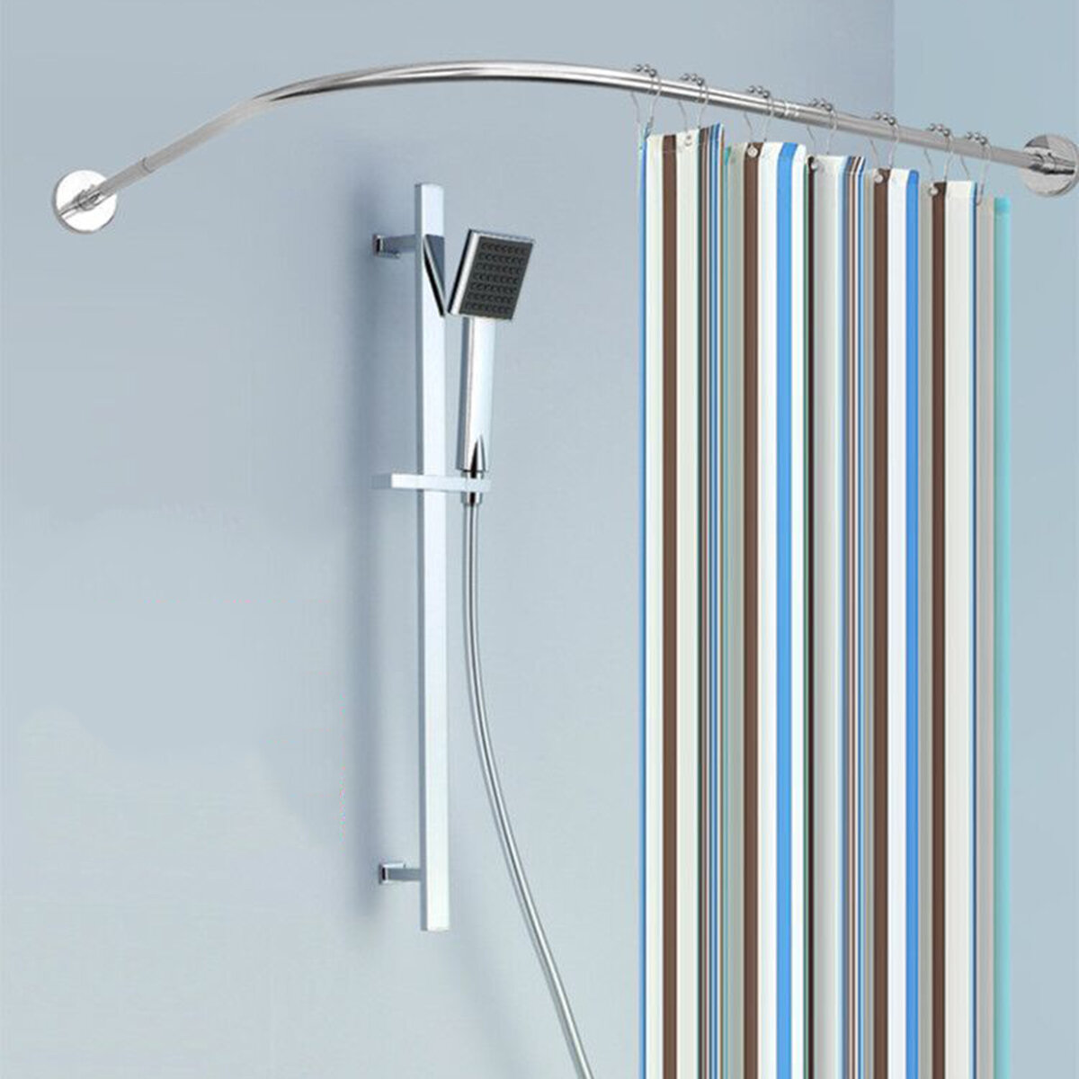 Stainless Steel Adjustable Curved Shower Curtain Rod Bathroom Bars Rail Rod