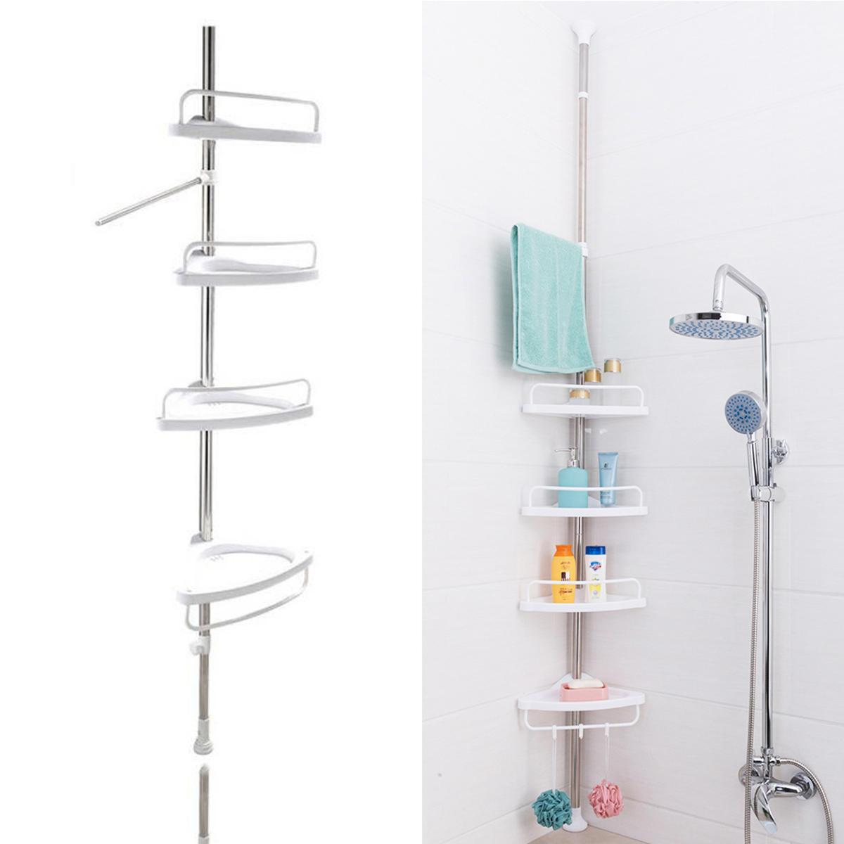 Adjustable 4 Tier Bathroom Corner Shower Shelf Rack Wall Corner Rack Storage Holder Space Saving Organiser