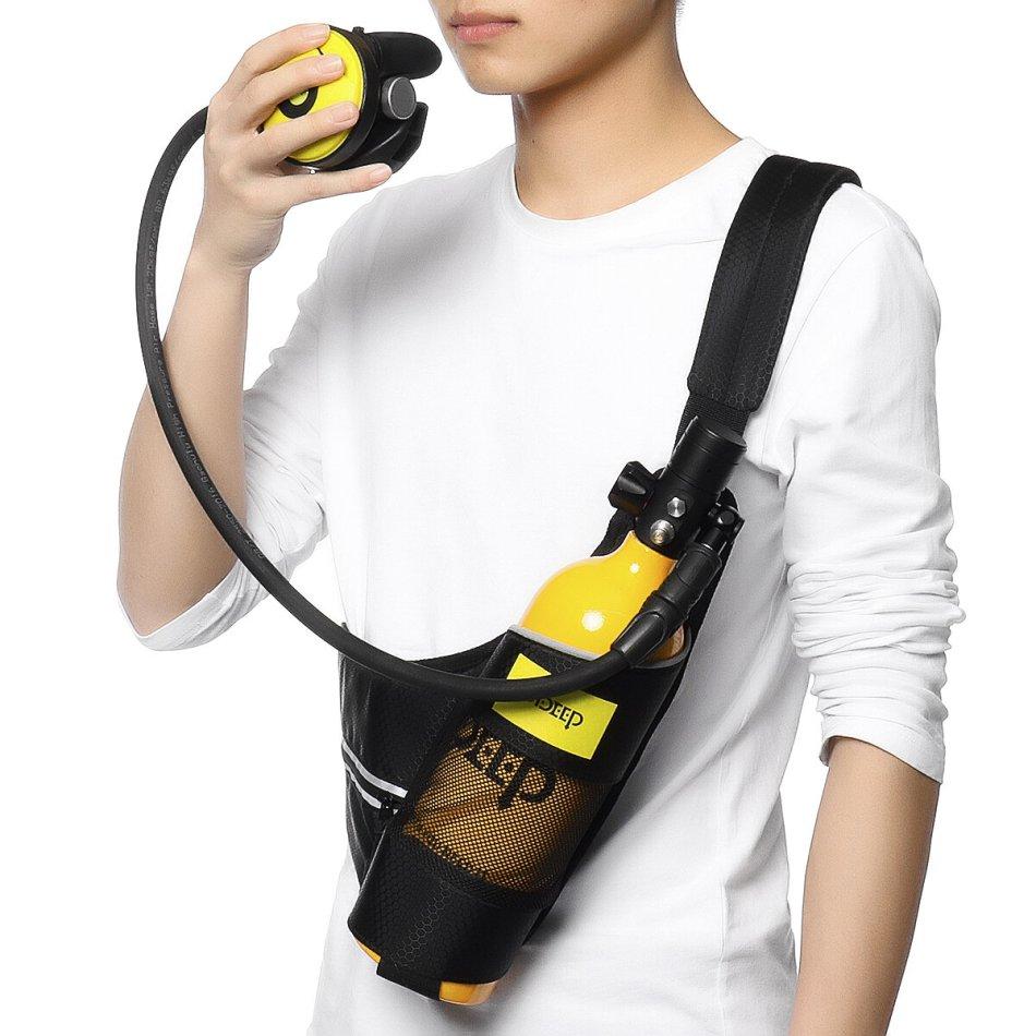 DIDEEP Diving Set 1L Diving Oxygen Cylinder Medium Pressure Tube Secondary Breathing Valve Quick-dry Crossbody Bag
