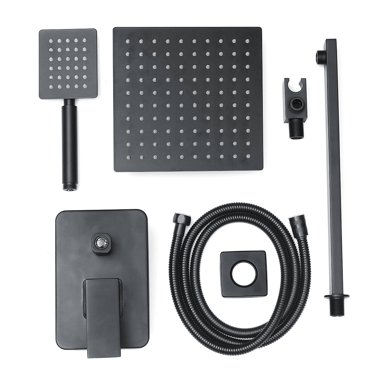 8 Black Wall Mounted Rainfall Shower Head Faucet Tub Spout Mixer Tap Shower Combo Set