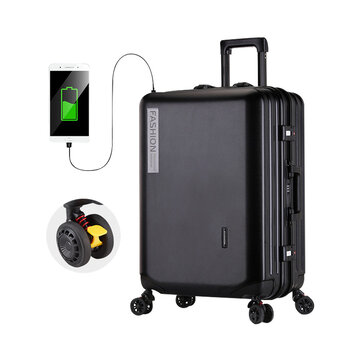 XMUND 20inch Travel Trolley Suitcase with USB Port Rolling Upright Universal Wheels Expandable Luggage Case Boarding Bags Trunk Fashion Retro Suitcase for Travel Carry-On