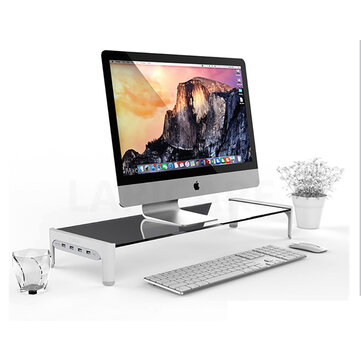 Monitor Laptop Stand Riser Computer Desktop Storage Monitor with USB Fast Charge and Cable