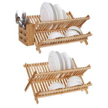 bamboo dish drainer rack holder stand plate drying storage kitchen wood