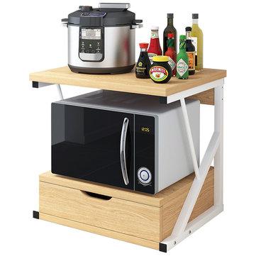 2 tiers kitchen microwave oven rack with drawer home storage shelf rack kitchen desktop counter shelf organizer tableware space saver
