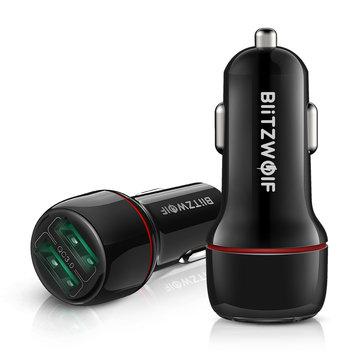 Ευρωπαϊκή αποθήκη | BlitzWolf® BW-SD5 18W Dual-Port USB 3.0 Mini Car Charger for iPhone 11 Pro XS Xiaomi Mi8 Pocophone F1
