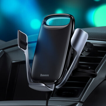 Baseus 15W LED Electric Bracket Intelligent Touch Gravity Stable Quick Charger Car Wireless Charger Phone Holder for Samsung S10+ HUAWEI P30Pro Xiaomi M9