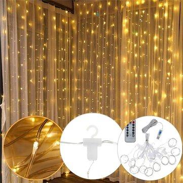 3m 3m usb 300 led curtain string light with 10 hooks for outdoor festival decor christmas wedding dc5v christmas decorations clearance christmas