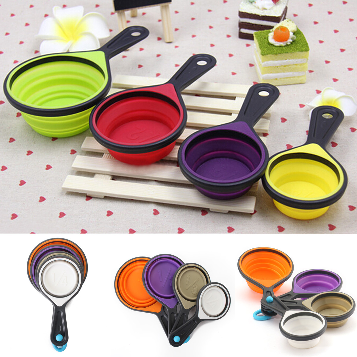 4pcs Silicone Measuring Cake Cup Spoon Kitchen Tool