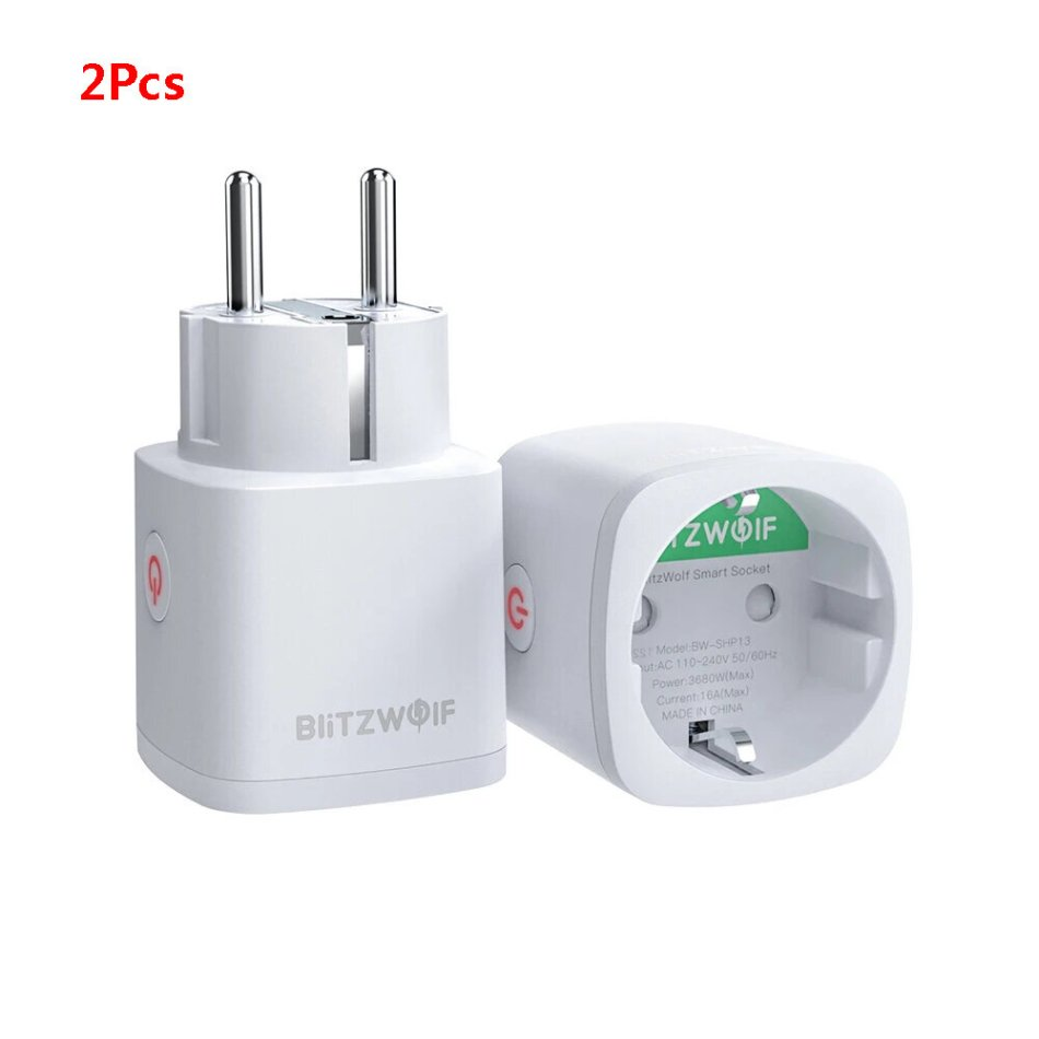 [2 Pcs] BlitzWolf® BW-SHP13 ZigBee 3.0 Smart WIFI Socket 16A EU Plug Electricity Metering APP Remote Controller Timer Work with Amazon Alexa Google Home