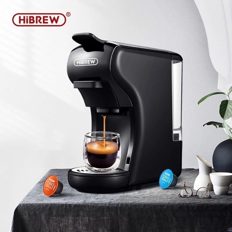 HiBREW Hi-504 3 IN 1 Expresso Coffee Machine Nespresso Compatible with Dolce Gusto Ground Coffee 220V-240V 1450W Fast Heating Auto Power Off Set