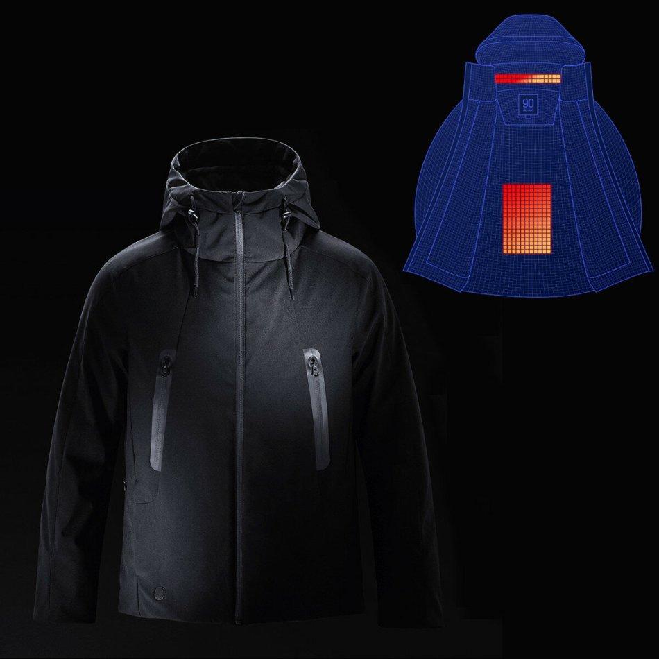 90FUN IP64 Men Winter Rechargeable Adjustable Electric Heated Jacket Coats Washable Waterproof Rainproof Soft Down Jacket