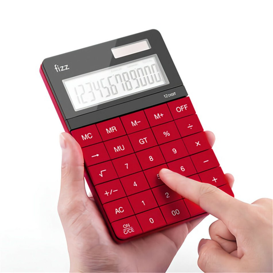 [Xiaomi YouPin]Fizz FZ66806 Calculator Double Power Desk Calculator 12 Digit Large Display Panel Button Calculator Financial Office for College Students