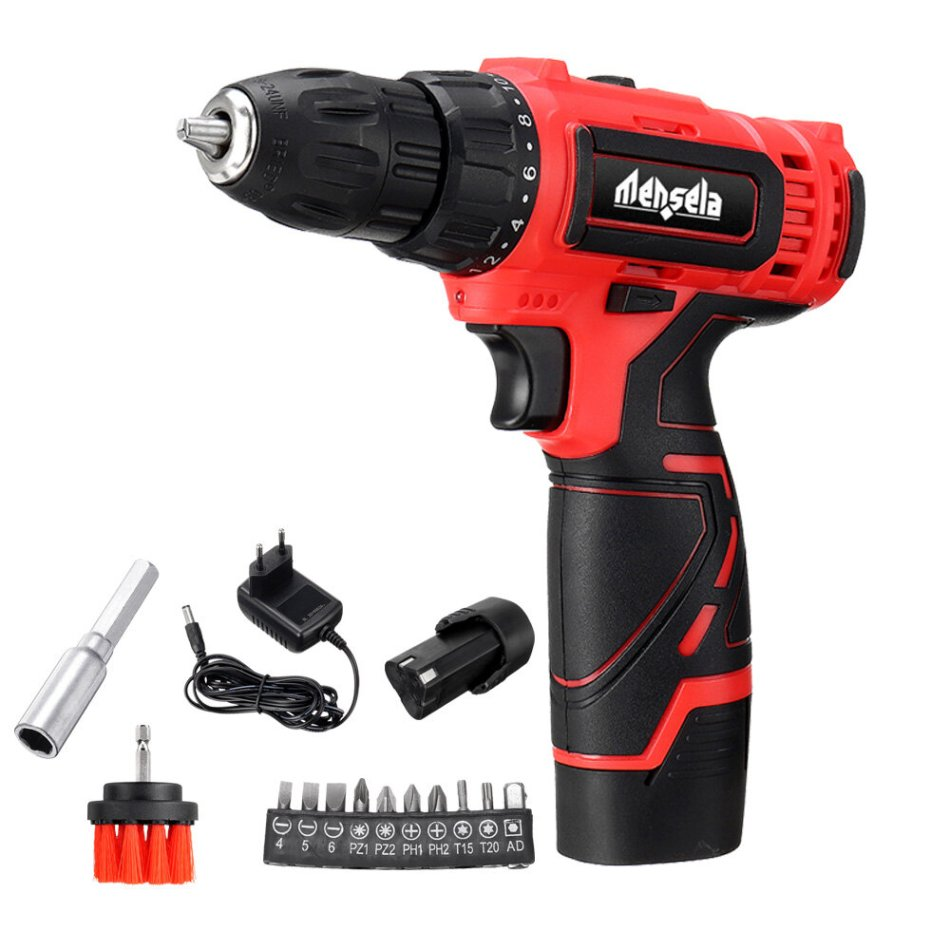 Mensela ED-LS1 12V MAX Cordless Drill Driver Double Speed Power Drills With LED Lighting 1/2Pcs 1.5Ah Battery