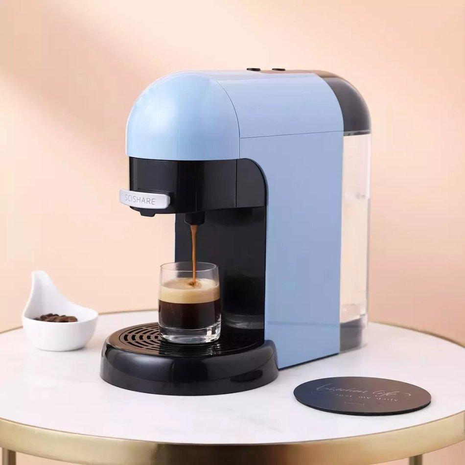 SCISHARE S1801 Espresso Coffee Machine 1100W 220V-240V Powder-free Operation Powder/Package Dual Purpose-AU Plug