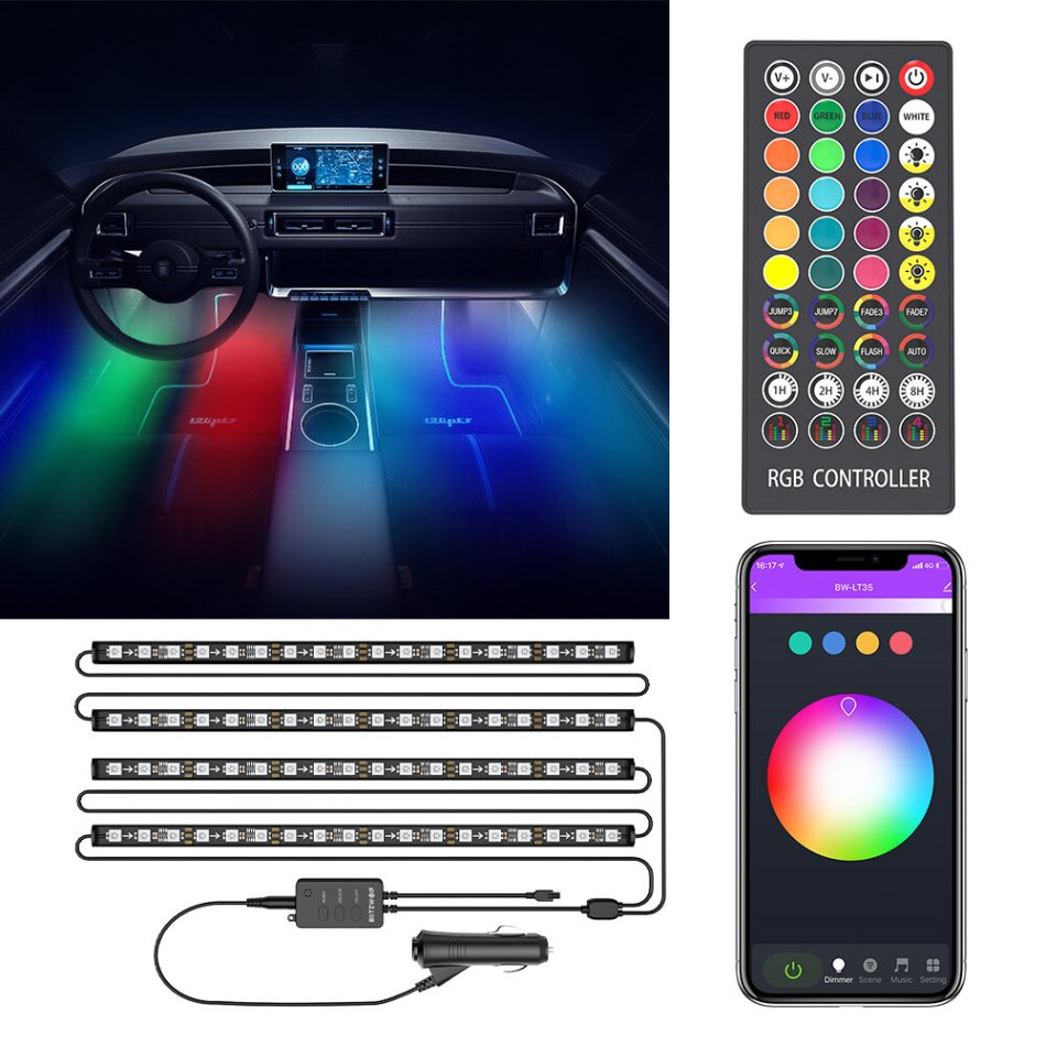 BlitzWolf® BW-LT35 Bluetooth RGBIC Car Interior Strip Lights with 3 Simple Control Methods Vivid RGBIC Lighting Effect Sync with Music Activate Music Mode and Scene COD