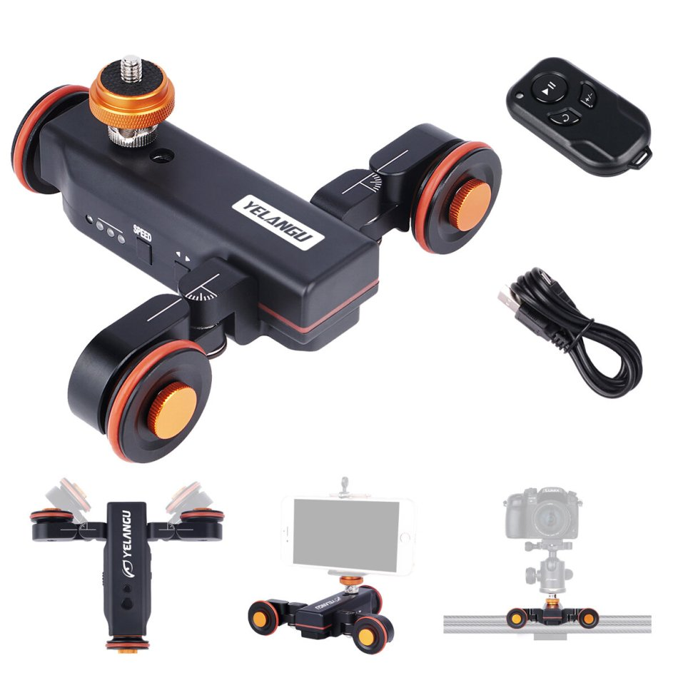 YELANGU L4X Motorized Dolly Slider Electric Car Motor Track with Remote Control for DSLR Camera Mobile Phone Camcorder Photography