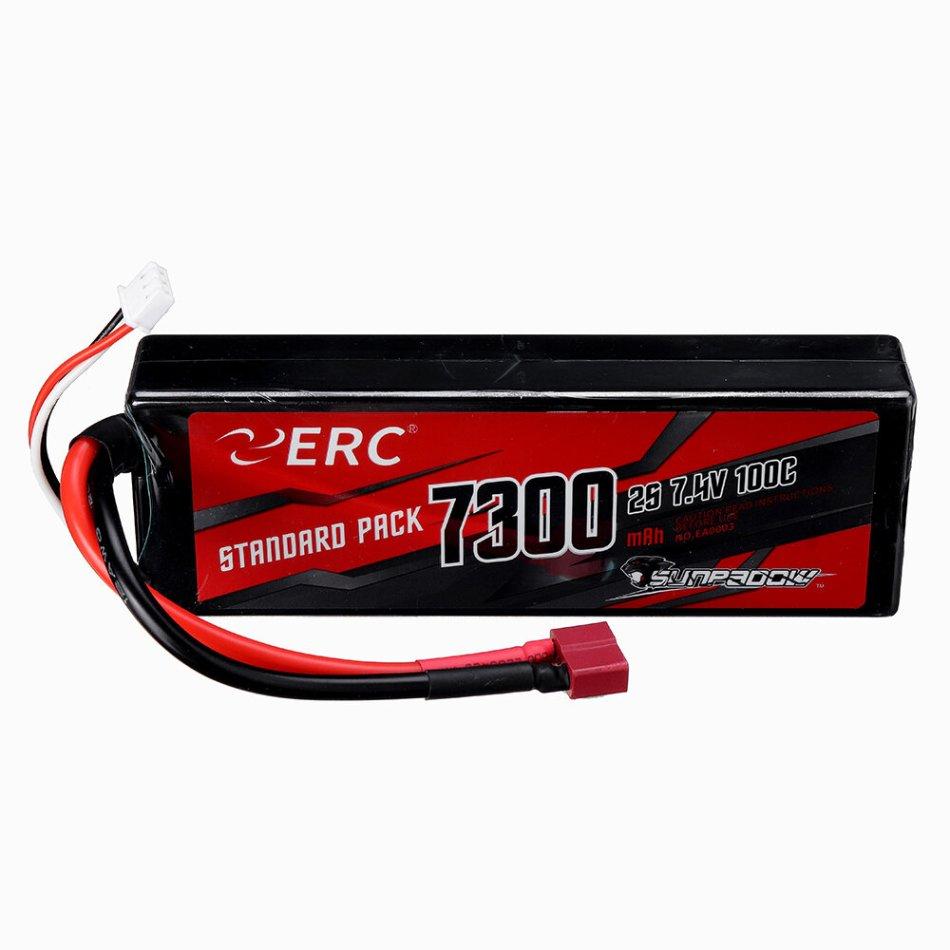 SUNPADOW ERC 7.4V 7300mAh 100C 2S Lipo Battery T Plug for RC Car