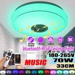 Στα 24€ από Τσέχικη αποθήκη | 33CM 70W bluetooth Smart LED Ceiling Light Music Speaker Remote Control APP Control RGBW Color Lamp AC180-265V