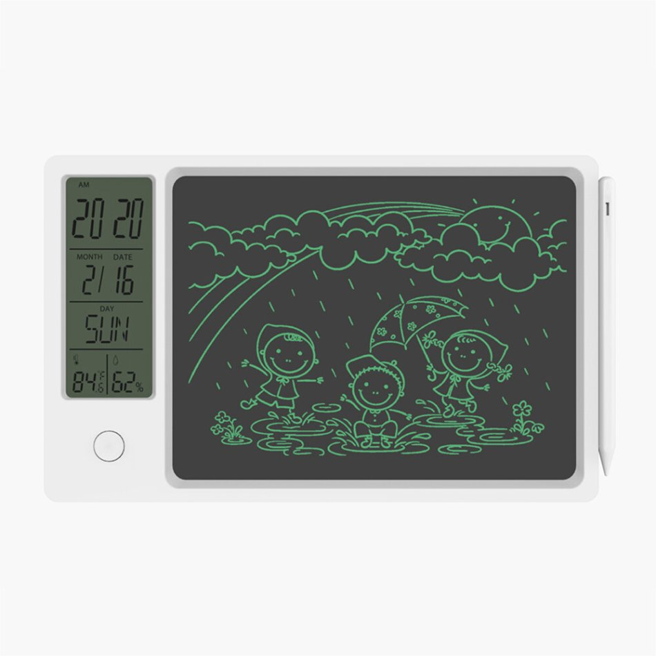 NEWYES 9.5 Inch LCD Writing Tablet Weather Pad Accurately Temperature Humidity Sensor Calendar Alarm Clock Protable and Durable Digital Drawing Board School Bussiness Kids Writing Pad