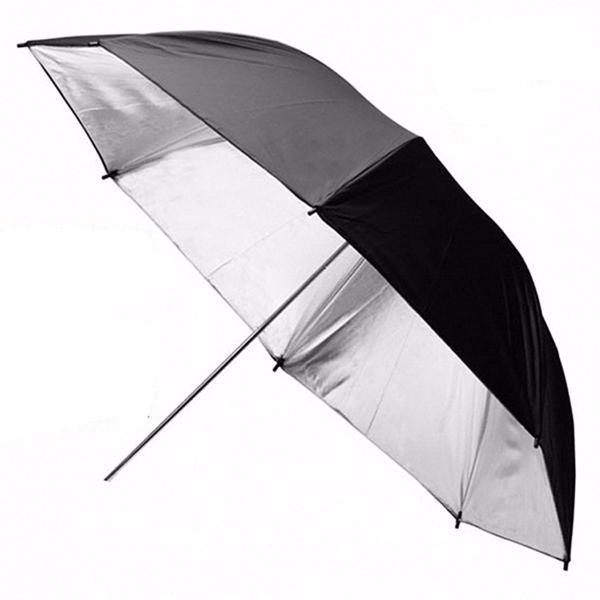 110см 43 дюймов черный серебристый отражающий зонт ...