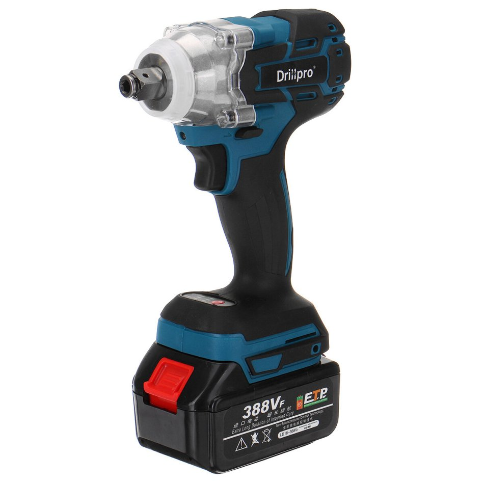 Drillpro 520N.m Electric Cordless Brushless Impact Wrench Riveter Drill Driver Kit W/ 1pc Battery