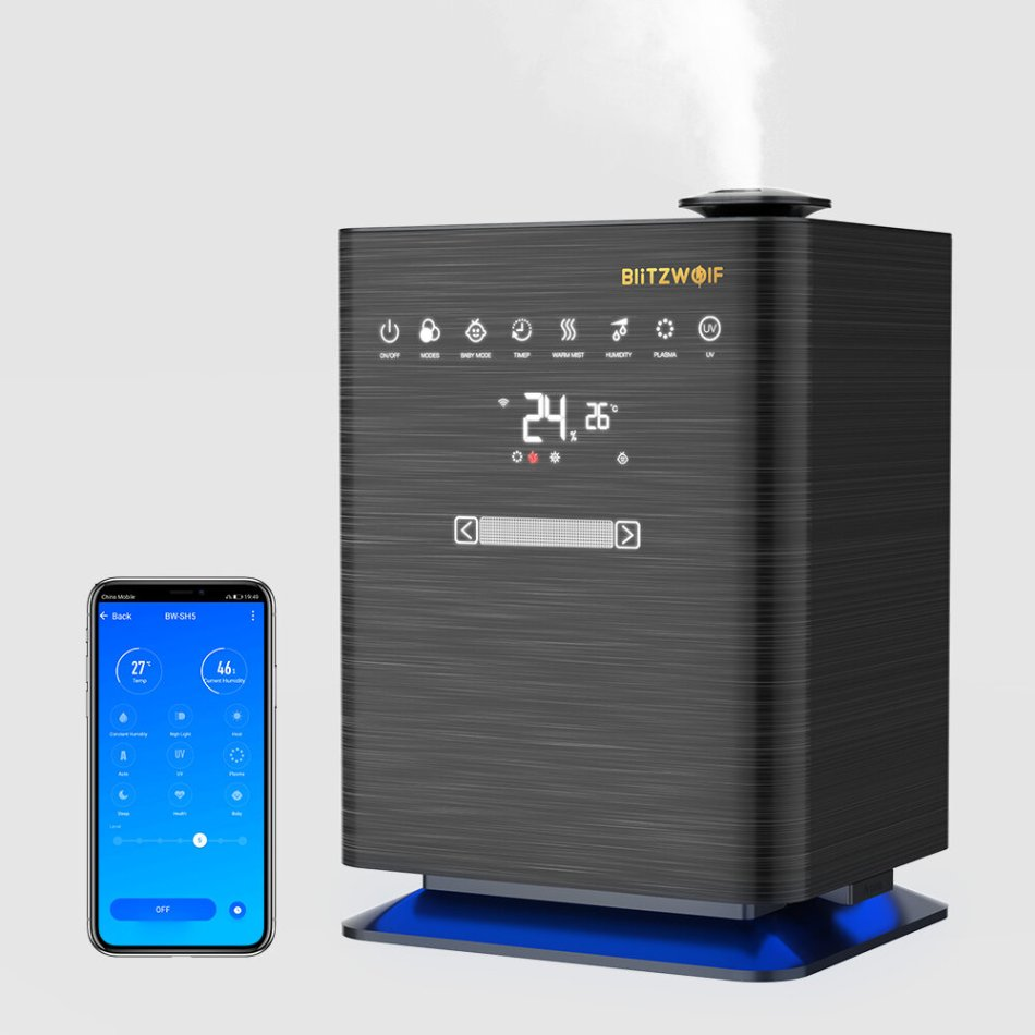 BlitzWolf® BW-SH5 Smart Ultrasonic Humidifier with APP Control 4.3L Capacity Heating Constant Humidity Plasma and UV Sterilization 360 ° Humidification for Home Bedroom Office