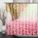 Cherry Blossom 3d Fashion Pattern Bathroom Fabric Shower Curtain Home Decoration Waterproof