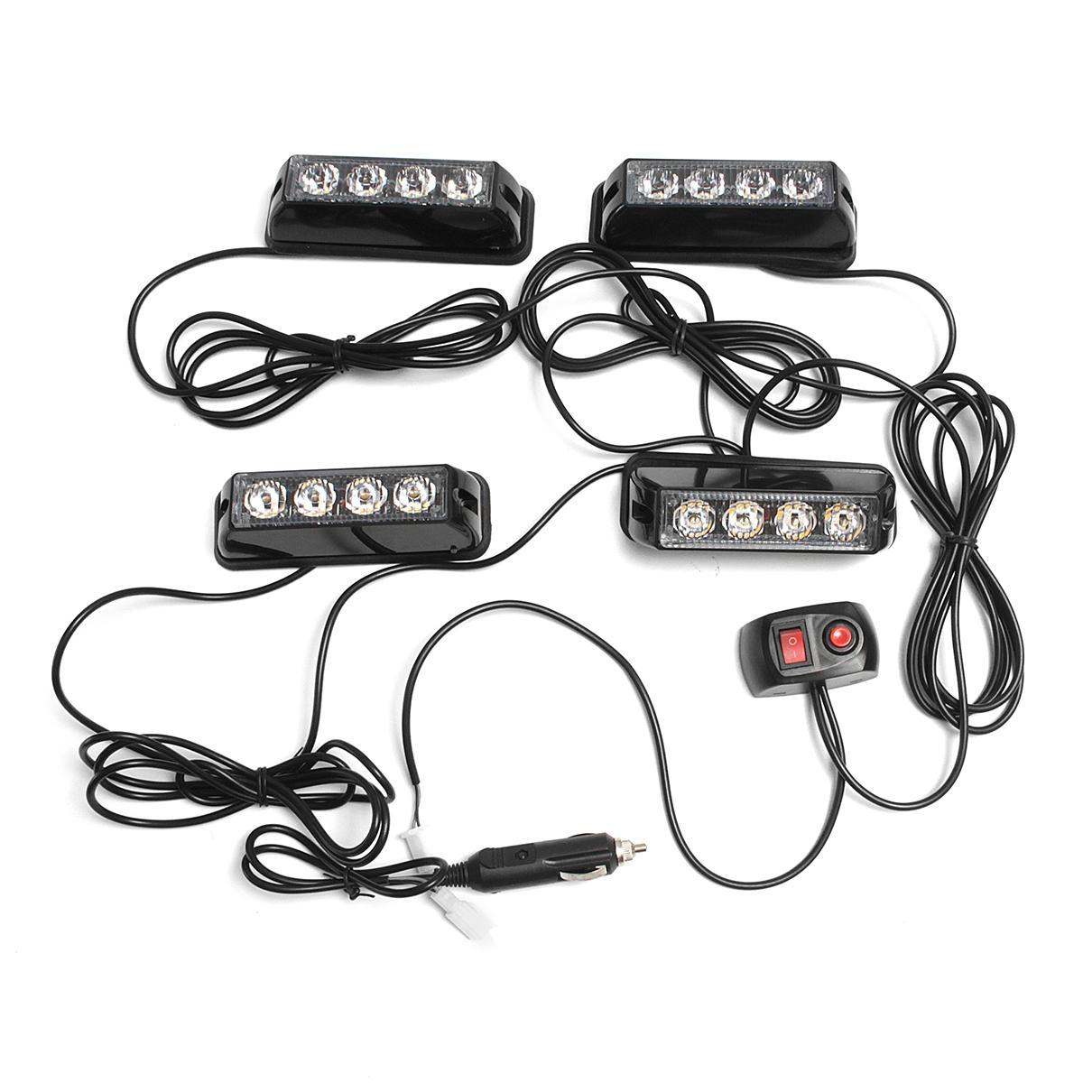 4pcs Led Constant Bright Strobe Lights Side Tail Light