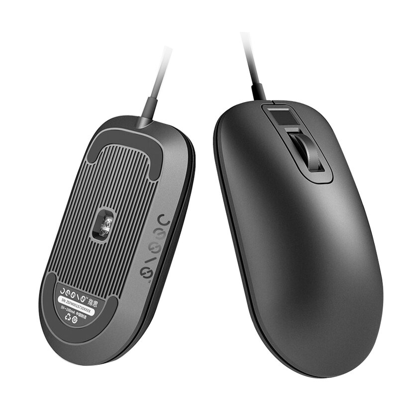 Jessis Smart Fingerprint Identification USB Wired Mouse With Optical Sensor Portable Mouse