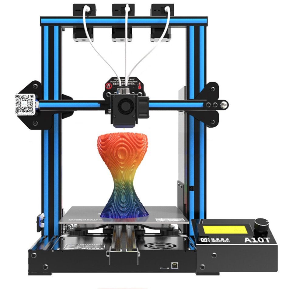 Geeetech® A10T Mix-Color Prusa I3 3D Printer 220*220*250mm Printing Size With Triple Extruder/3 in 1 Nozzle/Filament Detector/Power Resume/3:1 Gear Train/Open Source GT2560 Board/Geeetech Color Mixer