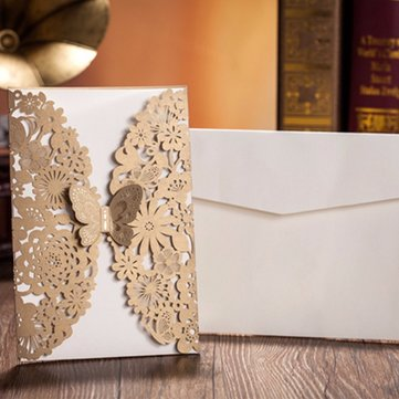 10pcs Gold Paper Wedding Invitation