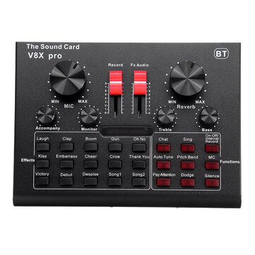V8X PRO External Audio Mixer USB Interface Sound Card with 15 Sound Modes Multiple Sound Effects