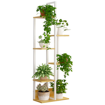 6 tier wooden plant stand flower pot shelf indoor book storage rack decor