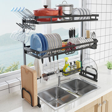 stainless steel all in one versatile organizer dishes rack for kitchen storage tool