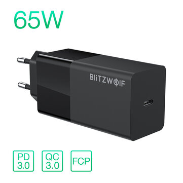 BlitzWolf® BW-S17 65W USB-C Charger PD3.0 Power Delivery Wall Charger With EU Plug Adapter For Smart Phone Tablet Laptop For iPhone 11 SE 2020 For iPad Pro 2020 MacBook Air 2020 Huawei Xiaomi – EU Plug