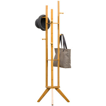 coat rack stand coat tree cloth hanger hall tree free standing farmhouse style bamboo rack holder with 6 hooks 3 layer shelf for clothes coat laundry