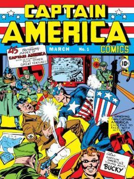 Capitão América socando um nazista