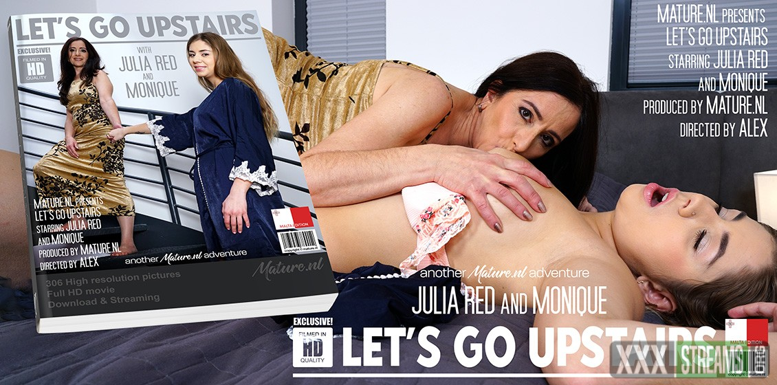 [mature.nl] Julia Red (26) & Monique (EU) (49) – Hot young babe Julia Red is taken upstairs by mature lesbian Moniqu…