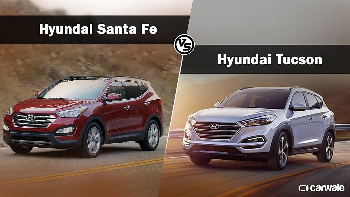 3 of 101 front view. Spec Comparo Hyundai Tucson Vs Hyundai Santa Fe Carwale