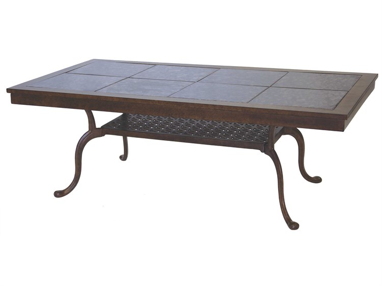darlee outdoor living granite top cast aluminum 52 x 28 rectangular coffee table