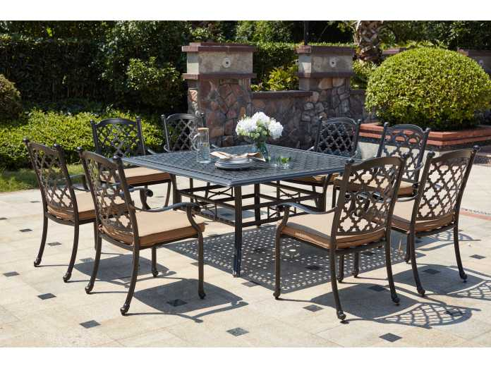 Darlee Outdoor Living Madison Cast Aluminum 9 Piece Dining Set With 60 Inch Square Dining Table In Antique Bronze Da2016509pc88w