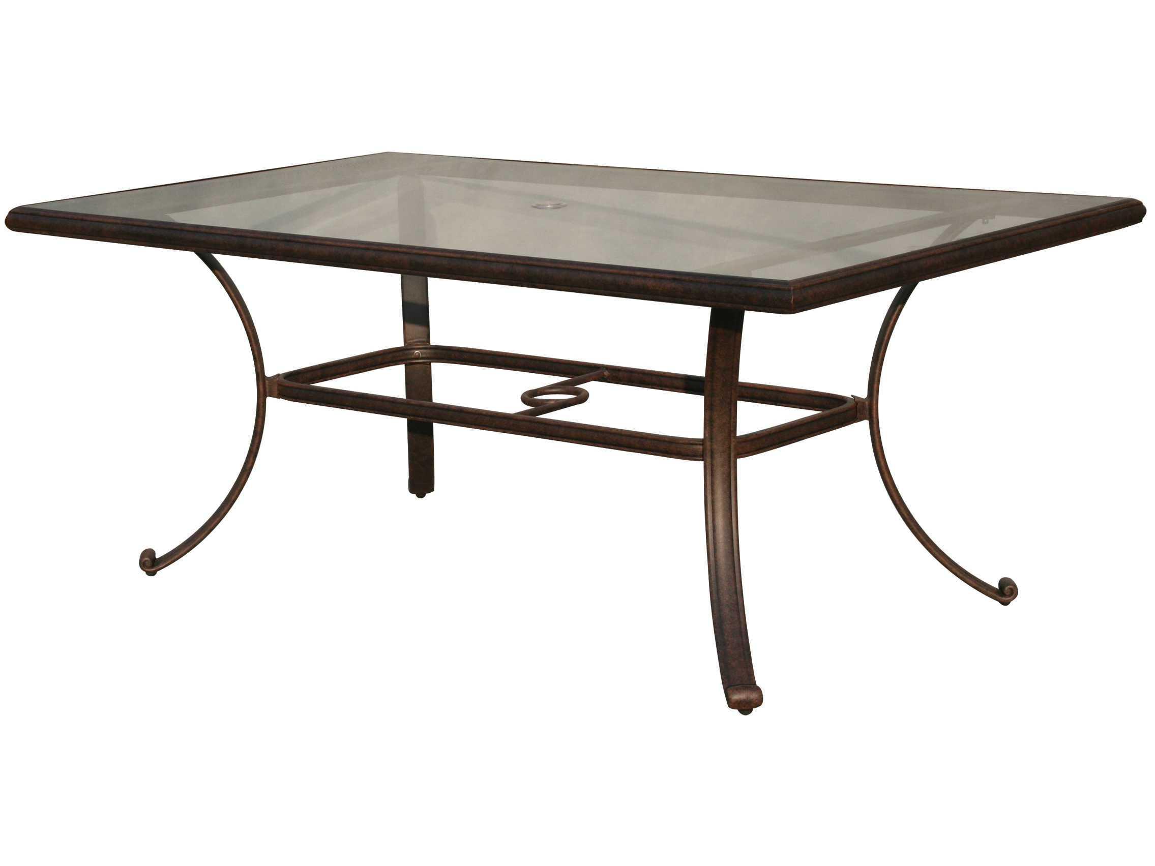 darlee outdoor living glass top cast aluminum antique bronze 72 x 42 rectangular dining table