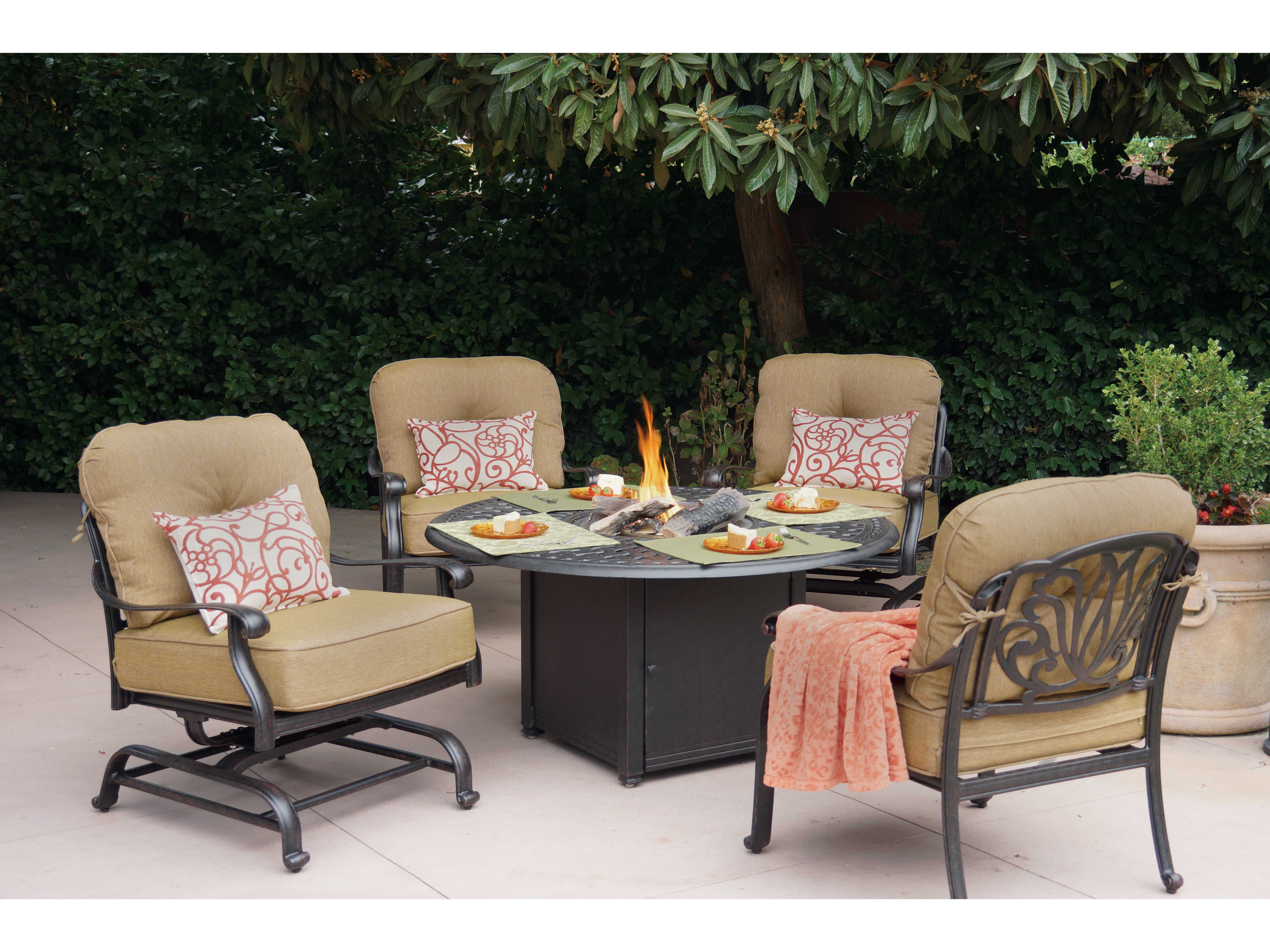 Darlee Outdoor Living Series 60 Cast Aluminum 60 Round ... on Outdoor Dining Tables With Fire Pit id=99729