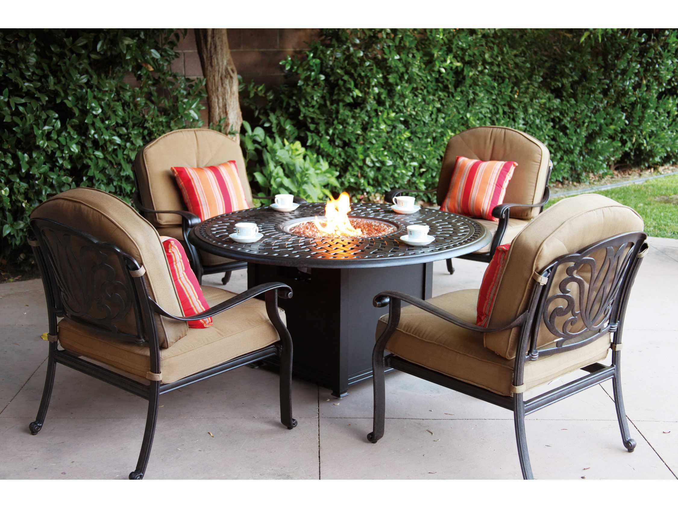 Darlee Outdoor Living Series 60 Cast-Aluminum 60 Round ... on Outdoor Dining Tables With Fire Pit id=79486
