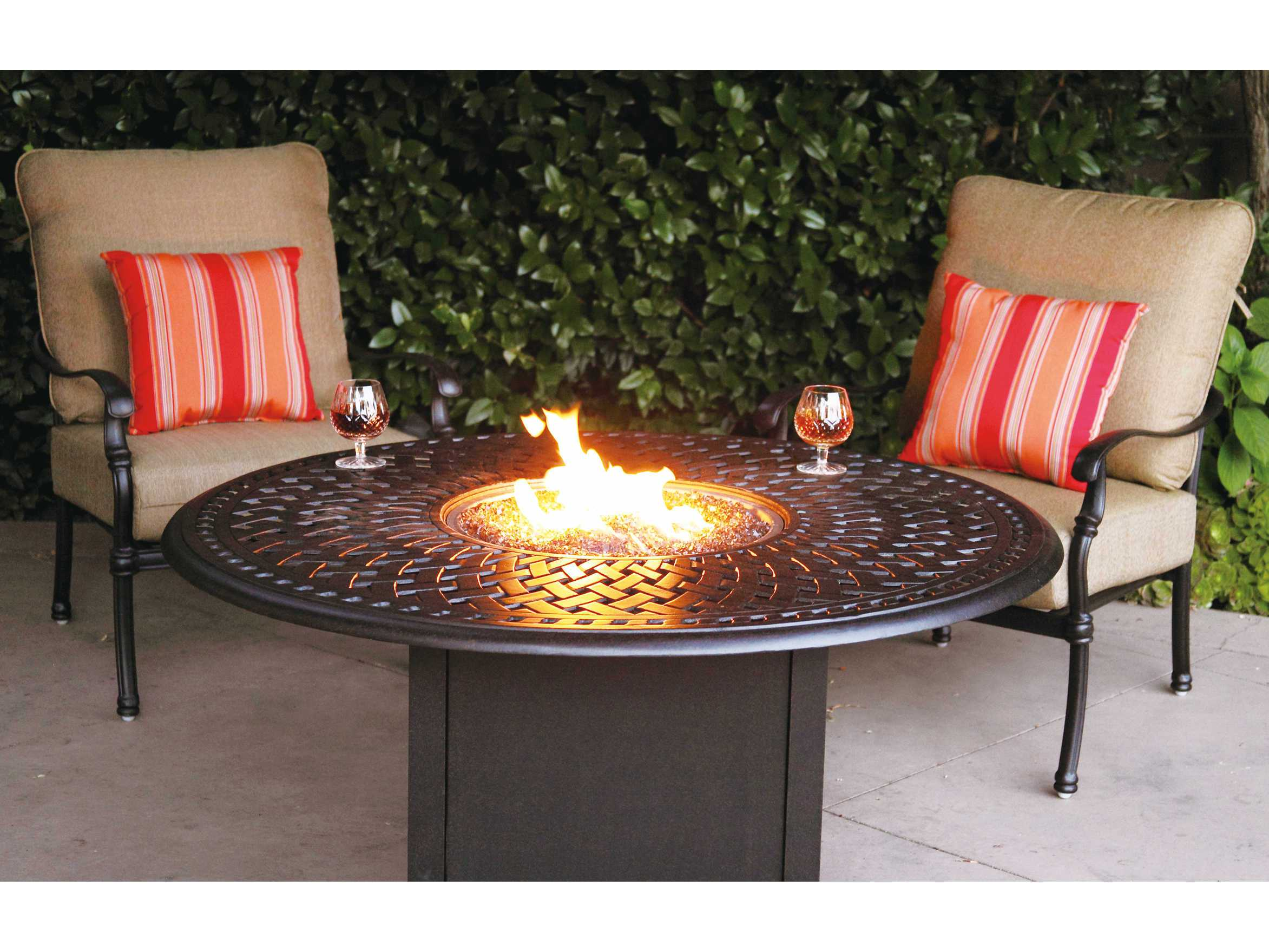 Darlee Outdoor Living Series 60 Cast Aluminum 60 Round Propane Fire Pit Dining Table 201060 GD