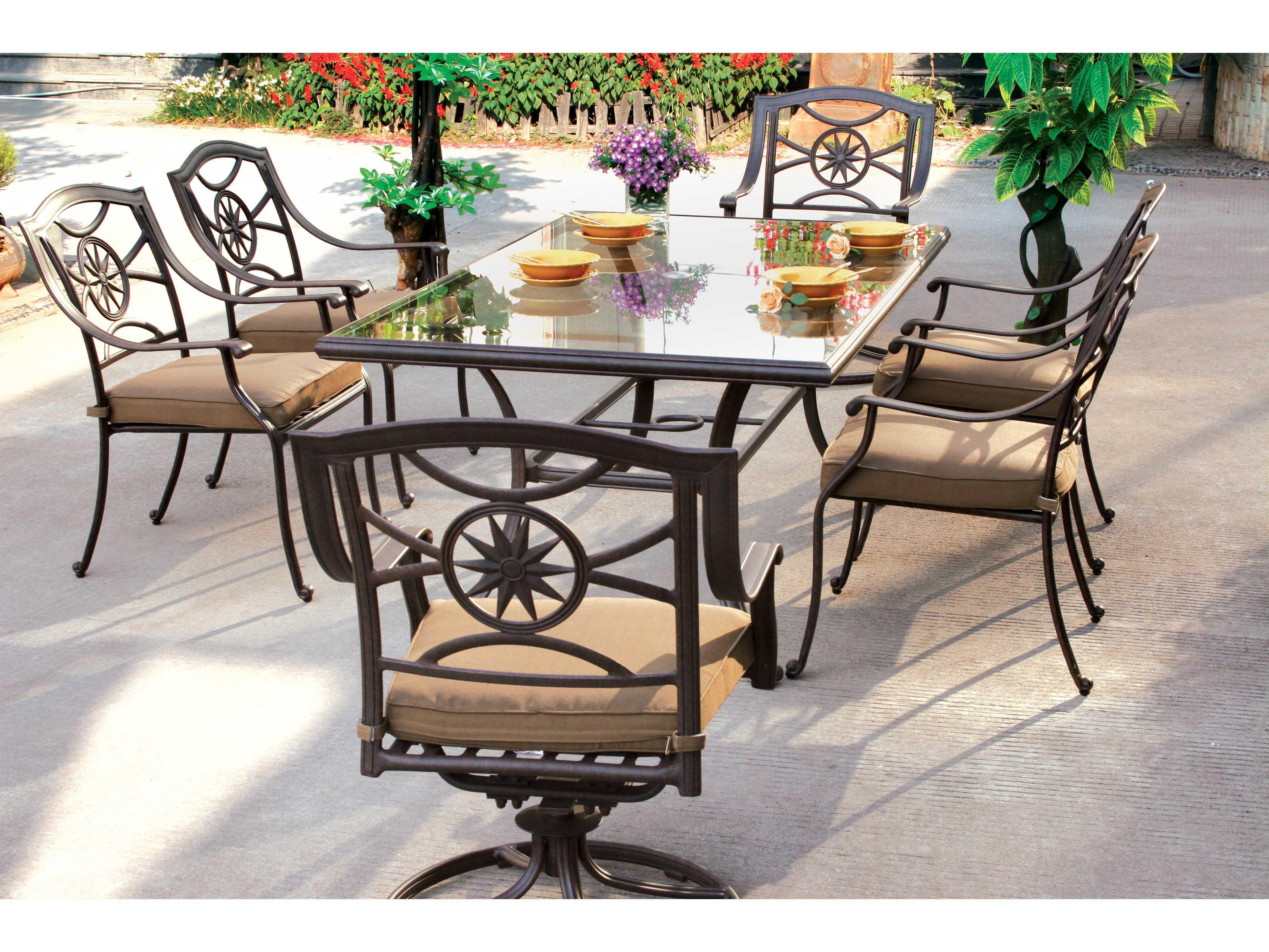 darlee outdoor living ten star antique bronze cast aluminum dining set