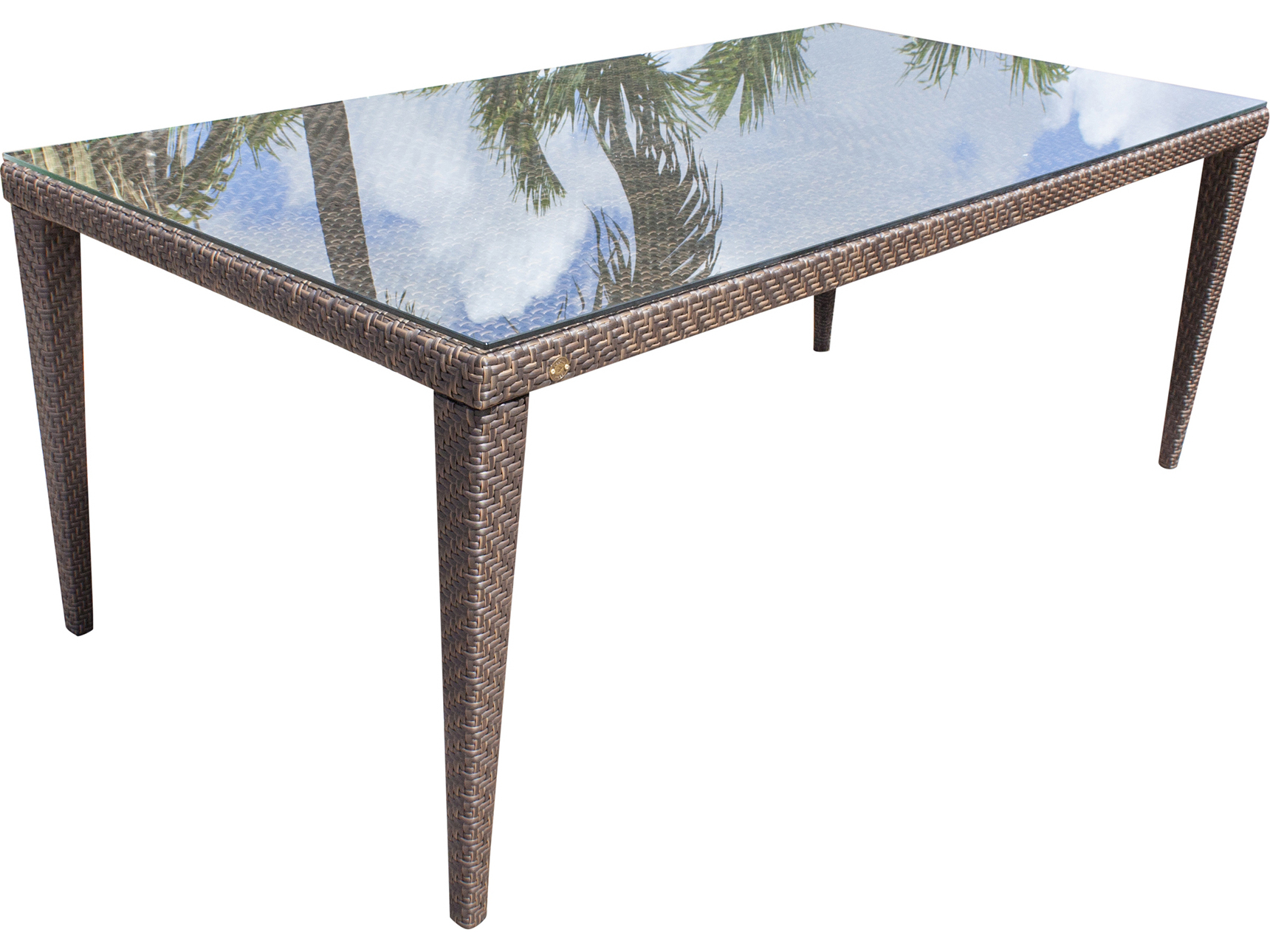 hospitality rattan outdoor soho java brown wicker 78w x 40d rectangular glass top dining table