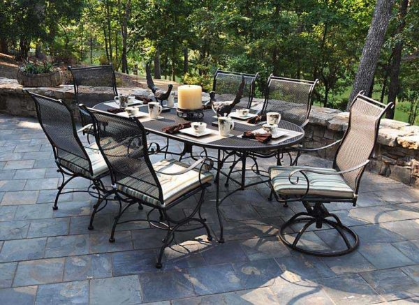 wrought iron patio dining sets Meadowcraft Alexandria Wrought Iron Dining Set   ALEDSD