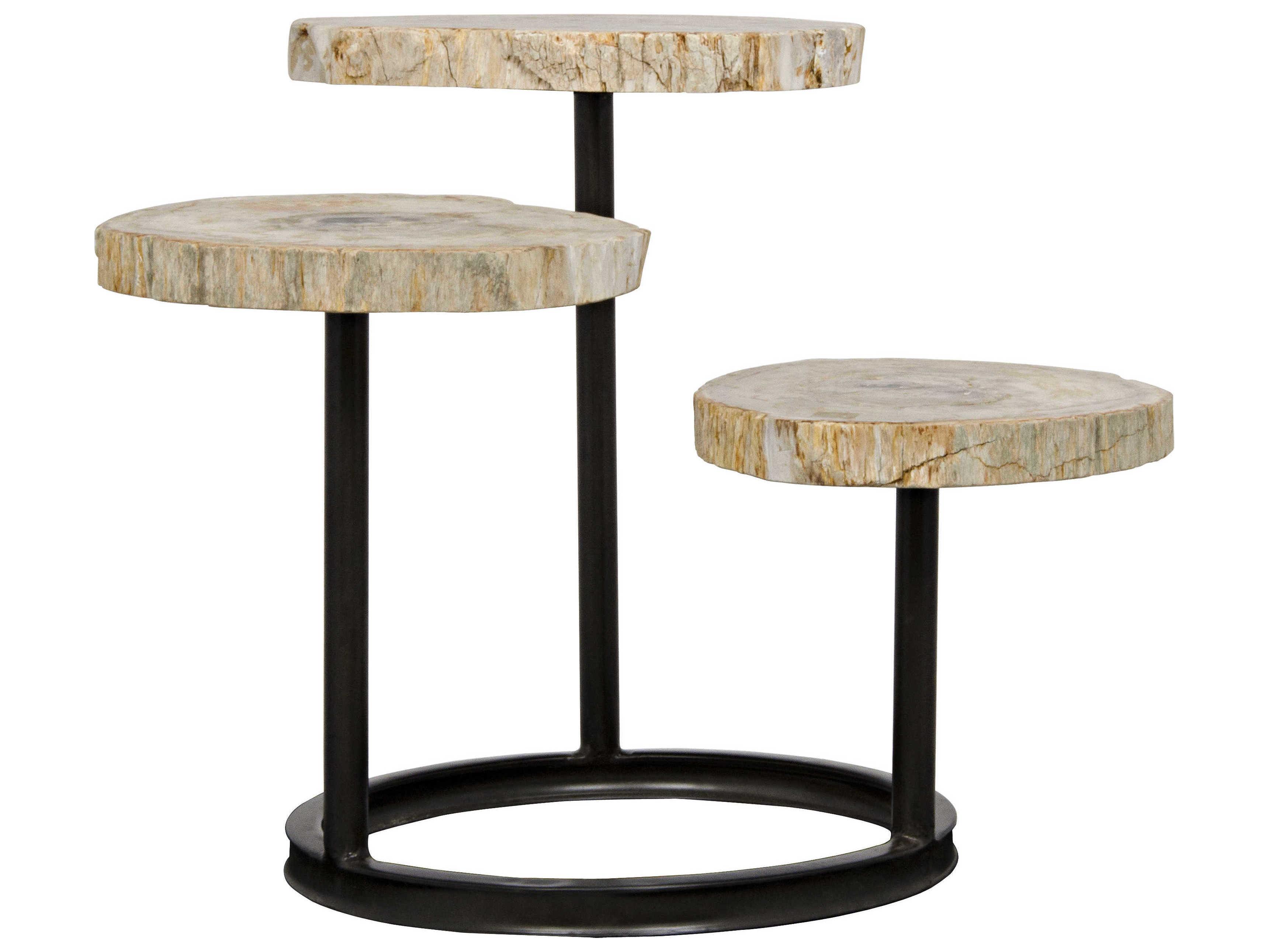 Noir Furniture Corado Metal & Petrified Wood 35'' X 31